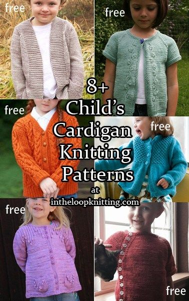 Knitting patterns for children's cardigan sweaters. Most patterns are free