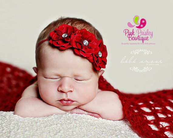 Baby Headbands, Infant Headbands, Baby Hair Accessoriesm Newborn Photo Shoot, Newborn Photo Props Newborn Headbands  Baby Headband  Red by Pinkpaisleybowtique, $9.95