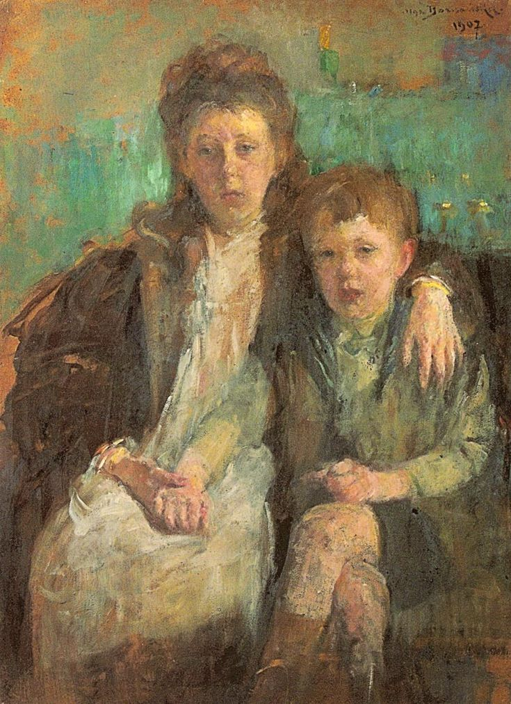 """Olga Boznańska """"Portret dzieci"""", 1907, olej na tekturze, 95 x 70 cm, Lwowska Galeria Sztuki, Lwów"""