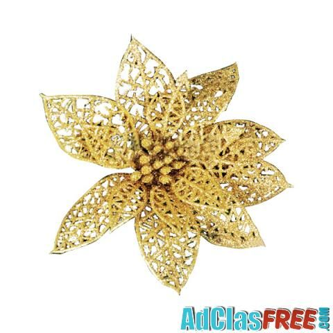 Gold Flower Christmas Tree Decoration - US Classified Ads | Post Your Ads For Free