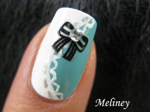 Tiffany Black Bow Sticker NaiIs Cute Classy Pretty Lace Nail Art Design Tutorial Alice in Wonderland