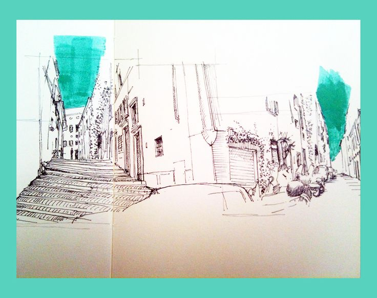 Via Baccina - sketch from notebook - ink