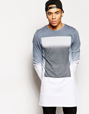 ASOS Super Longline Long Sleeve T-Shirt With Square Print