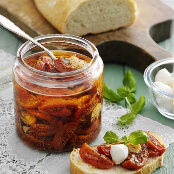 Halvtørrede tomater - Opskrifter