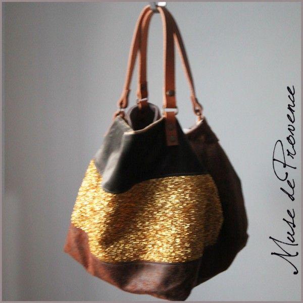 sac cabas de créateur en brillant lamé d'or et cuir brun pièce unique 1