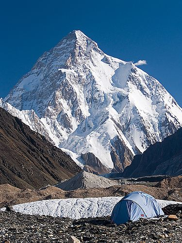 a lone tent with a splendid view of K2, world's second highest peak