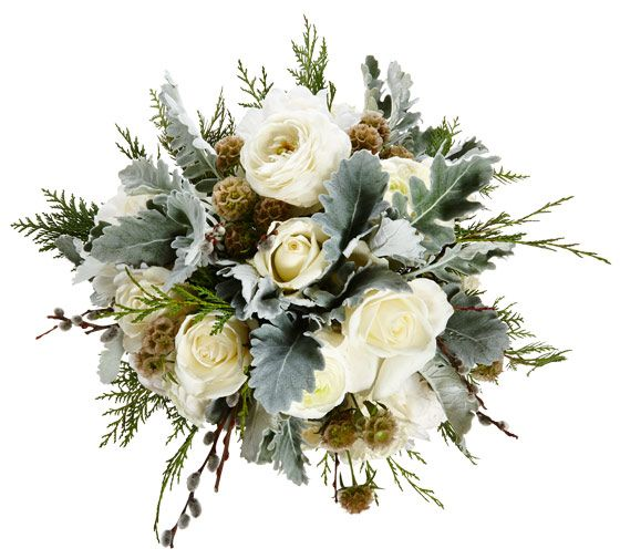 Centerpiece with ranunculus, roses, cedar, dusty miller, pussy willow branches, peonies, pinecones, scabiosa pods,