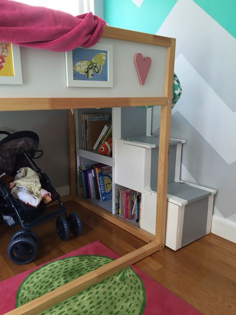 Storage stairs with bookcase for IKEA Kura bed Kids bedroom in