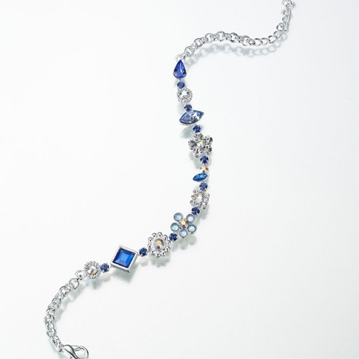 "A perfect ""something blue"" for your wedding is this charming silver-and-blue anklet. The length of the anklet is 9.45 inches, plus a 1.18 inch extender."