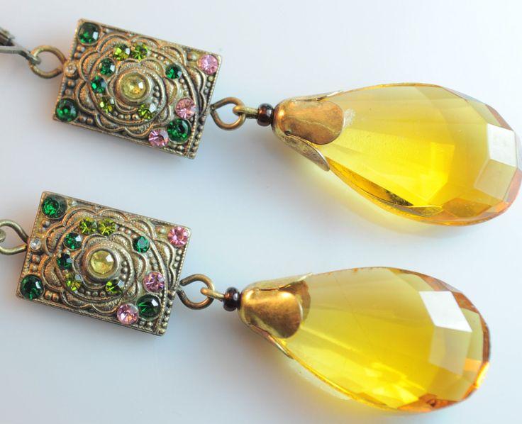 Old Czech Art Nouveau amber glass drop earrings.