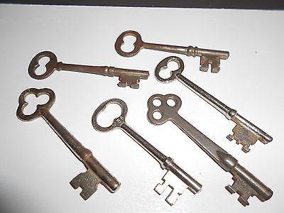 Lot Of 6 Vintage Skeleton Keys Estate Find No Replica Or Reproduction