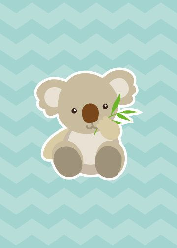 Koala on Blue Kids Animal Illustration Print by LittleCharacters