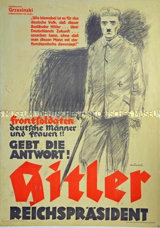 Frontsoldaten deutsche Männer und Frauen!! Gebt die Antwort! Hitler Reichspräsident 1932