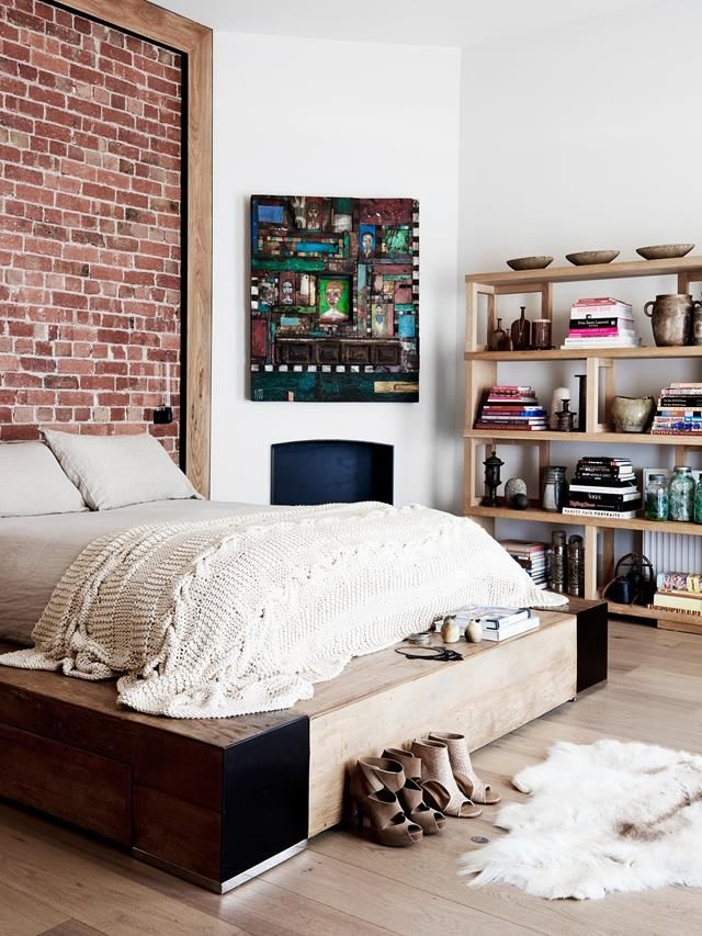 Exposed brick bedroom wall from a renovated 100-year-old Victorian terrace in Melbourne. Photo: Eve Wilson | Styling: Simone Haag | Story: real living