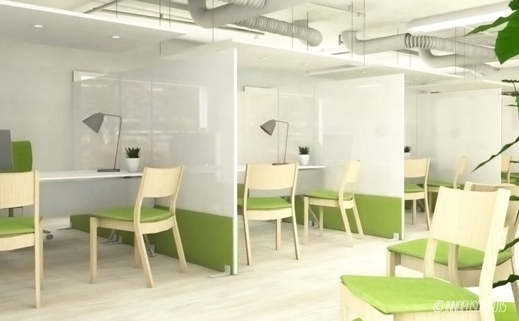 Customer care center visualisation with clever use of translucent acoustic materials.