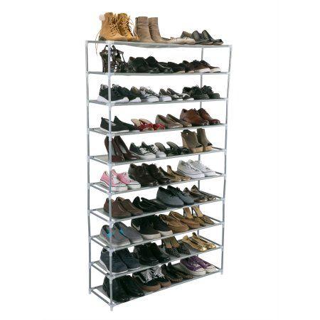 Home 50 Pair Shoe Rack Shoe Rack Grey Shoe Organizer
