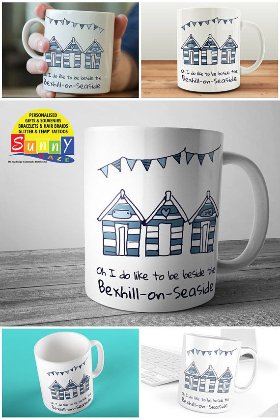Oh I do like to be beside the Bexhill-on-Seaside mug with hand drawn beach huts and bunting design in blue and white on a 11oz ceramic mug. #sunnydazestudio #Bexhill #bexhillonsea #bexhillseafront #bexhillpromenade #SeaSide #mugs #beachhuts #coffeemugs #bunting #seasidemugs #bohomugs #quotemugs #giftmugs #souvenirmugs #beachmugs #beachhutmugs #mugsuk #britishseaside #holidaymugs