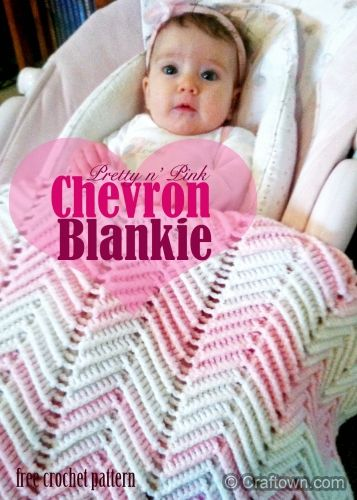 Pretty in Pink Chevron Blankie is a super project for beginning crocheters (@ Craftown.com)