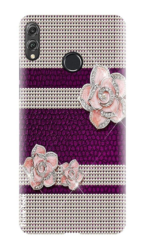 Purple Fancy Stylish Flower Huawei Honor 8X Printed Hard