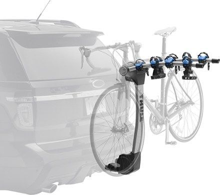 The Thule Apex 4 bike hitch rack carries up to 4 bikes and is easy to load and unload with the new, unique arc design that provides better ground clearance and creates greater distance between bikes. Available at REI, 100% Satisfaction Guaranteed.