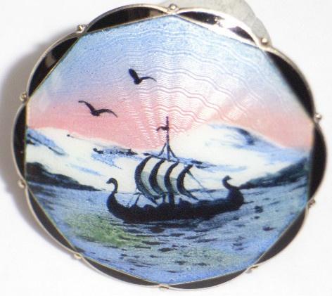 BROOCH STERLING/925S GUILLOCHE ENAMEL HJORTDAHL NORWAY MIDNIGHT SUN VIKING SHIP | eBay