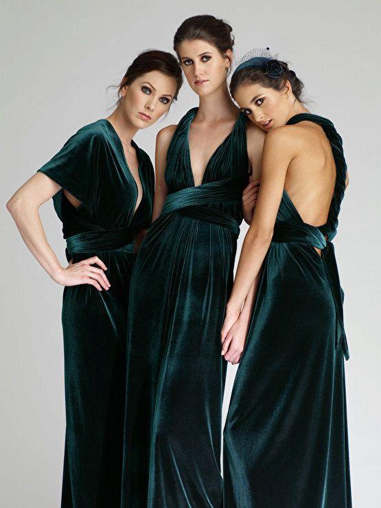 VINTAGE ORIGIN Bridesmaid Infinity Dress in Emerald Green Velvet