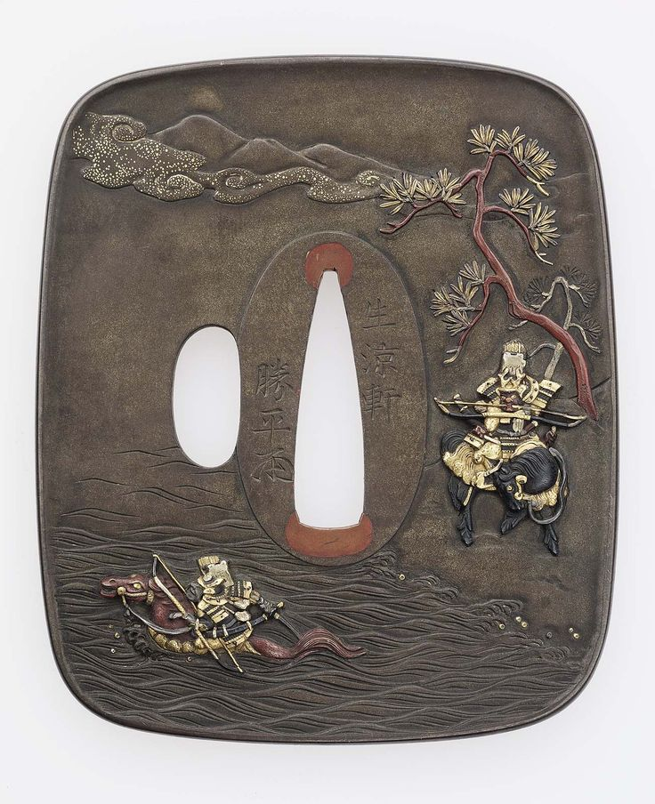 Tsuba with design of the race across the Uji River. Japanese Meiji era Late 19th century (before 1886) Hagiya Katsuhira (1804–1876), Mito School http://www.mfa.org/collections/object/tsuba-with-design-of-the-race-across-the-uji-river-11644