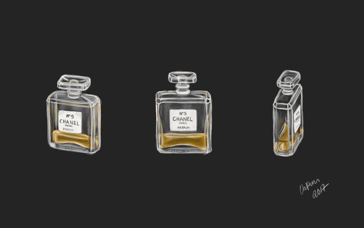 Chanel N°5 perfume digital painting by Valpuri