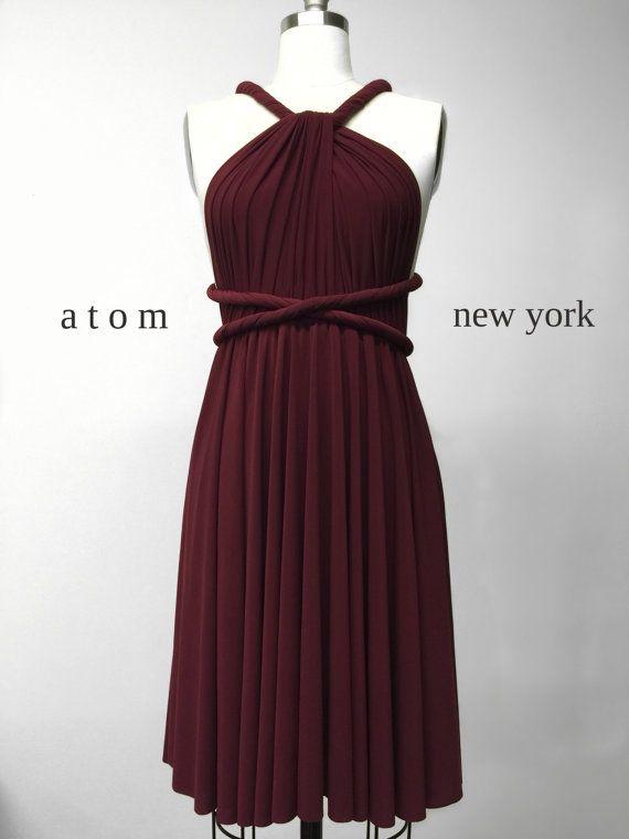 Bourgogne wijn rode korte Infinity jurk van AtomAttire op Etsy