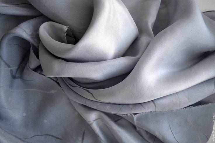 """Купить Шарф """"Иветта"""", батик, шелк, туаль - жемчужный, серый, жемчужно-серый, шелковый шарф"""