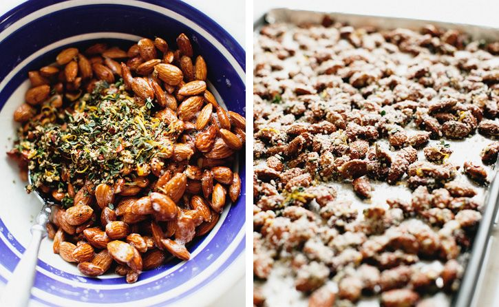 Savory Roasted Almonds     (Note: These are a go to food for having people over.  They are super-flavorful--especially if you double the red pepper flakes--and can be made a few days early.  I cook them on a silicon lined cookie sheet, and they always come out perfectly.)