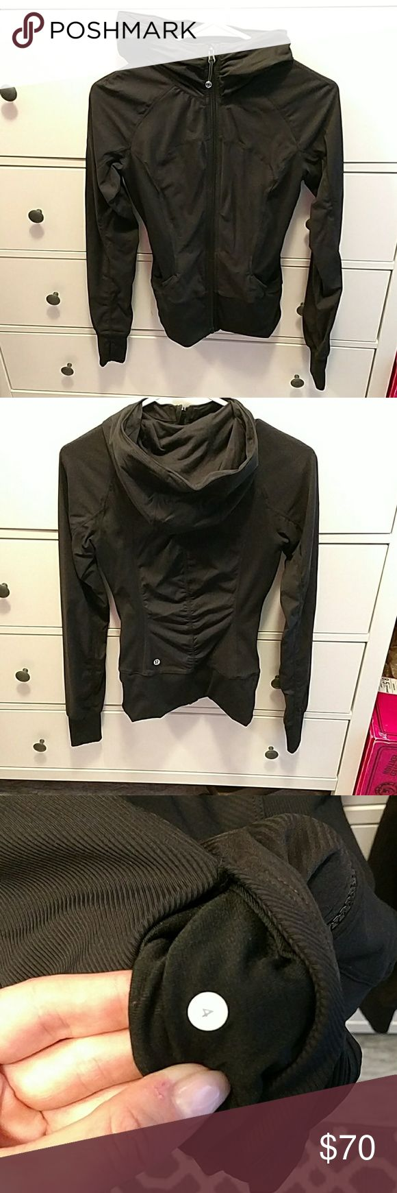 Lululemon in flux jacket Black, sz 4, been worn 1 time, in perfect condition. lululemon athletica Jackets & Coats