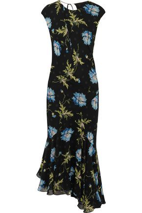 TOPSHOP UNIQUE WOMAN EVELYN ASYMMETRIC PRINTED SILK-GEORGETTE MIDI DRESS BLACK. #topshopunique #cloth #