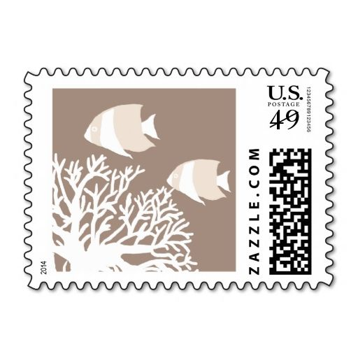 White And Ivory Beige Tropical Angelfish Postage