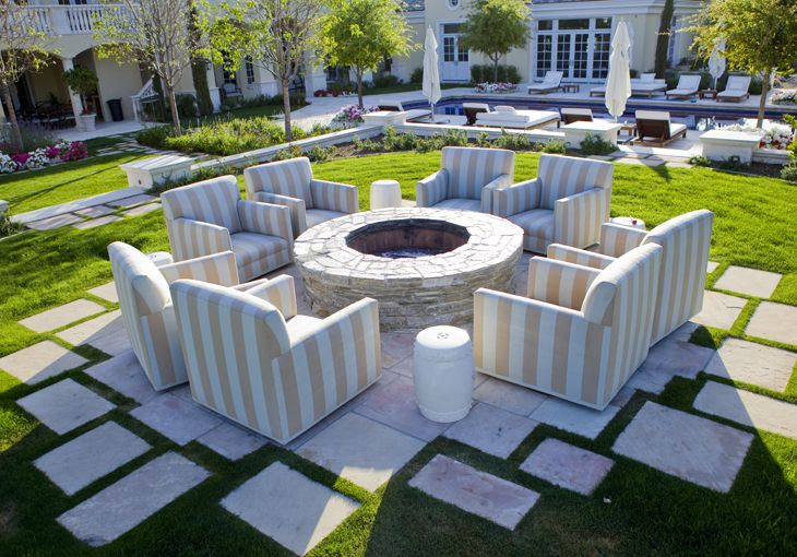 nice stonework and fire pit area