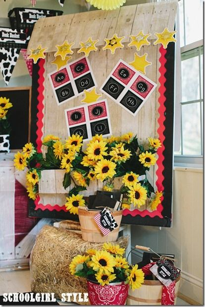 You can add flower boxes to your bulletin boards by using old Kleenex boxes.  Cover with bulletin board paper and staple right into the board!