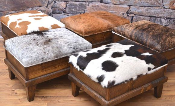 cowhide ottomans
