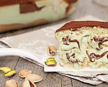 Tiramisù pistacchio e Nutella - Dolce senza cottura cremosissimo