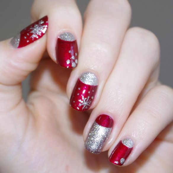 Red and Shimmery Silver Half Moon Snowflake Mani