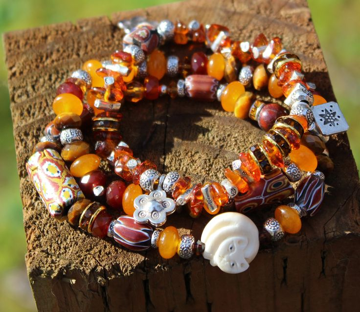 Excited to share the latest addition to my #etsy shop: Baltic Amber Bracelet, Baltic Amber Beads, Baltic Amber Jewelry, Cat Bead Bracelet, Boho Bracelet, Trade Bead Bracelet, Boho Bracelet Set