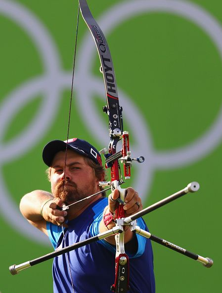 #RIO2016 - Best of Day 1 - Brady Ellison of the United States competes against Indonesia during the Men's Team Quarter Finals on Day 1 of the Rio 2016 Olympic Games at the...