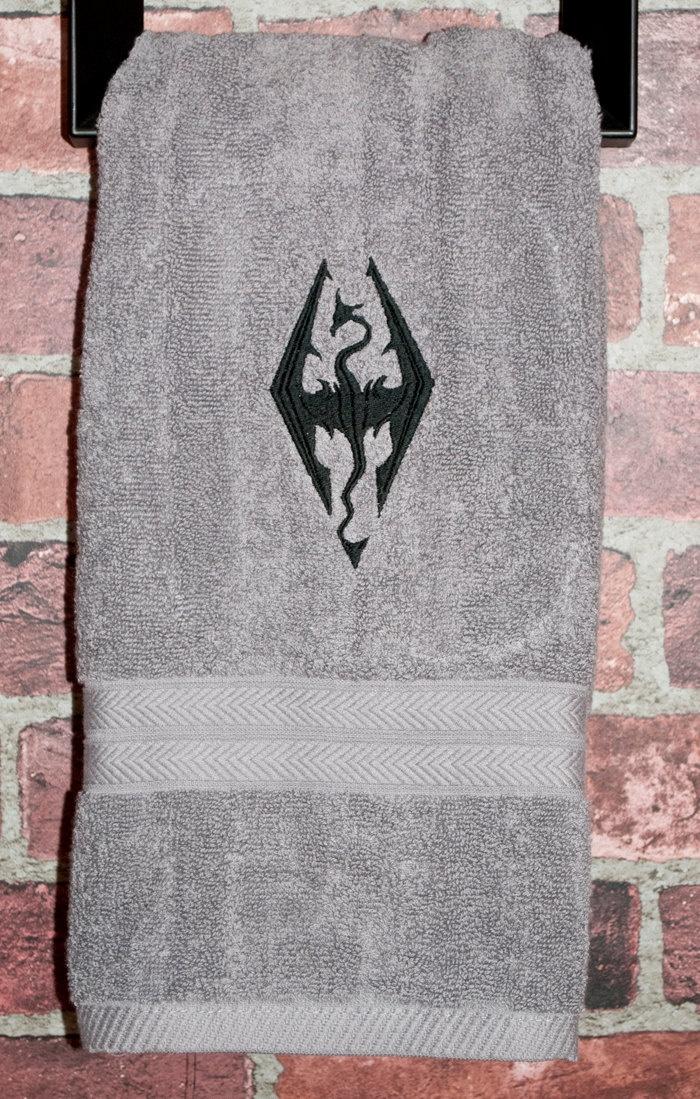 Skyrim inspired video game xbox ps3 geek nerd dragonborn dragon bathroom hand towel house. $11.00, via Etsy.