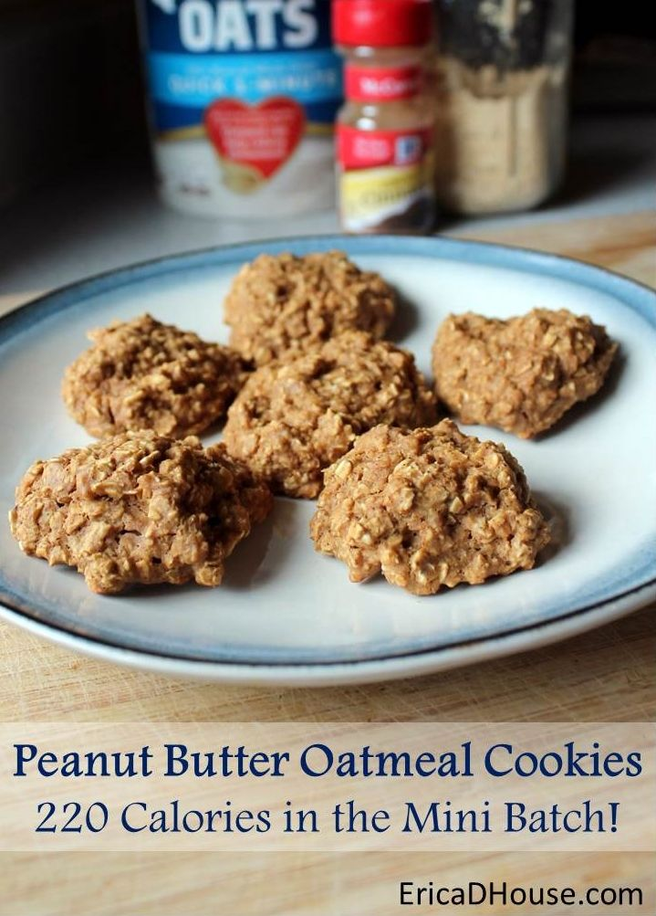 Healthy Peanut Butter Oatmeal Cookies ----- - 1/2 c. oatmeal - 2 T. PB2 (chocolate or regular) - 1 packet truvia - 1/2 Tb. Cinnamon - 1/4 tsp vanilla - 1/8 tsp baking powder - 2 T. egg whites - 1 T. apple sauce - 2 T. water