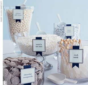 I definitely want this exact all-white candy bar set up at the dessert table!
