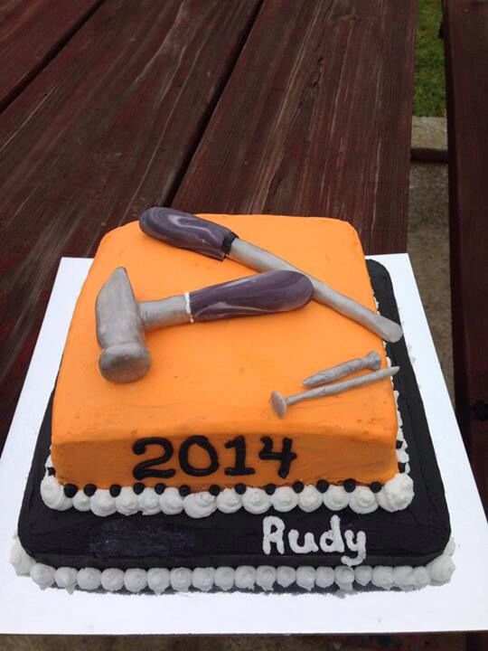 Hammer Screwdriver nail & screw fondant orange and black grad cake ...