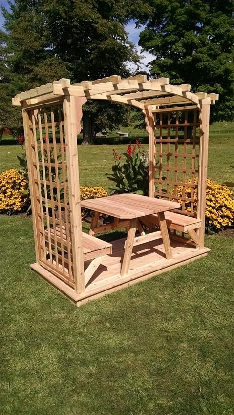Cedar Cambridge Backyard Arbor with Dining Set and Deck