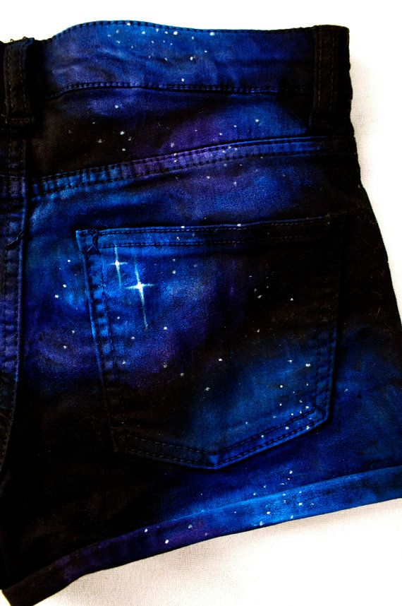 Beautiful Hand Painted Black Denim Galaxy Comic Nebula Hipster Rocker Shorts Cut Offs