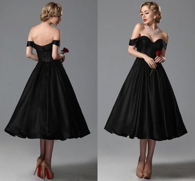 2017 Custom Made Black Prom Dress,Sexy Off The Shoulder Evening Dress,Sleeveless Party Gown,Tea Length Prom Dress,High Quality
