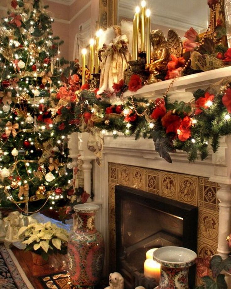 1134 best Christmas Mantels images on Pinterest | Christmas tree ...