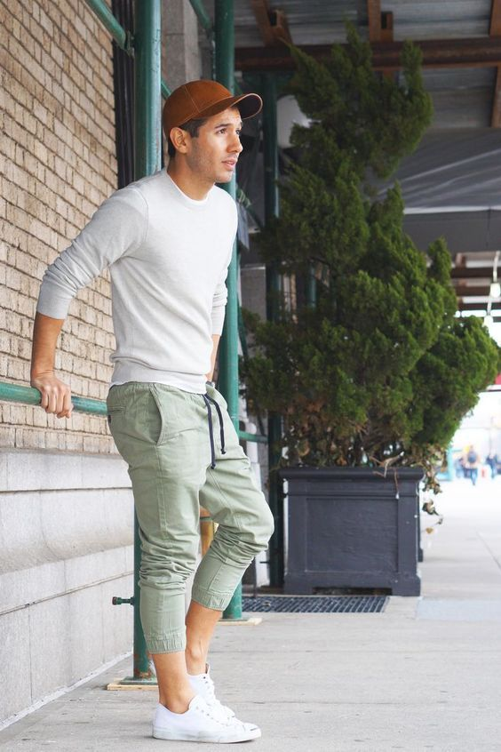 Grey colored plain jogger for men outfit